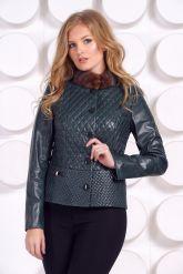 Кожаный пиджак с мехом норки. Фото 4.