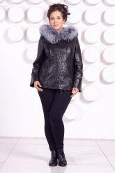 Утепленная кожаная куртка со съемным мехом на капюшоне. Фото 1.