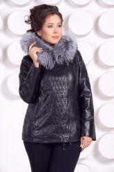 Утепленная кожаная куртка со съемным мехом на капюшоне. Фото 4.