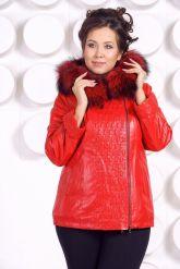 Демисезонная кожаная куртка больших размеров RM. Фото 4.
