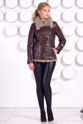 Стильная кожаная куртка с мехом коричневого цвета. Фото 1.