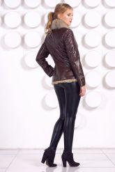Стильная кожаная куртка с мехом коричневого цвета. Фото 4.
