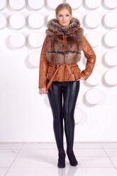 Куртка-жилетка с мехом песца в цвет соболя. Фото 1.