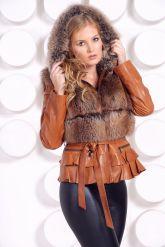 Куртка-жилетка с мехом песца в цвет соболя. Фото 3.