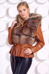 Куртка-жилетка с мехом песца в цвет соболя. Фото 4.