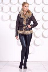 Кожаная куртка с мехом волка коричневого цвета. Фото 1.