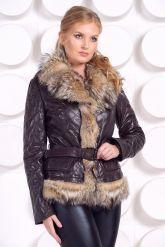 Кожаная куртка с мехом волка коричневого цвета. Фото 4.