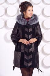 Комбинированное кожаное пальто. Фото 2.