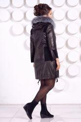 Комбинированное кожаное пальто. Фото 4.