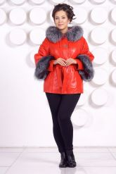 Красивая кожаная куртка с отделкой из меха чернобурки. Фото 1.