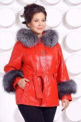 Красивая кожаная куртка с отделкой из меха чернобурки. Фото 2.
