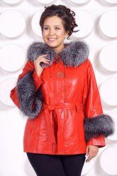 Красивая кожаная куртка с отделкой из меха чернобурки. Фото 3.