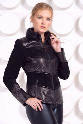 Комбинированная кожаная куртка с мехом норки. Фото 4.