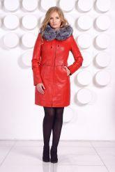 Оригинальное кожаное пальто с мехом чернобурки. Фото 1.