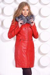Оригинальное кожаное пальто с мехом чернобурки. Фото 3.