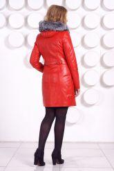 Оригинальное кожаное пальто с мехом чернобурки. Фото 4.