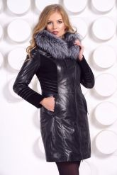 Комбинированное кожаное пальто с мехом чернобурки. Фото 1.