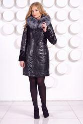Комбинированное кожаное пальто с мехом чернобурки. Фото 2.