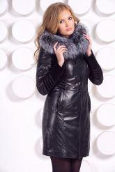 Комбинированное кожаное пальто с мехом чернобурки. Фото 4.