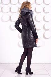 Комбинированное кожаное пальто с мехом чернобурки. Фото 5.