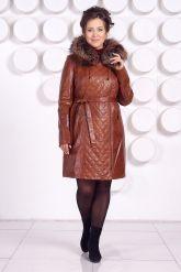 Рыжее кожаное пальто с капюшоном и мехом чернобурки. Фото 1.