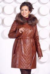 Рыжее кожаное пальто с капюшоном и мехом чернобурки. Фото 3.