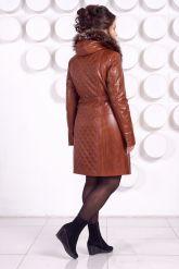 Рыжее кожаное пальто с капюшоном и мехом чернобурки. Фото 4.