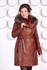 Рыжее кожаное пальто с капюшоном и мехом чернобурки. Фото 5.
