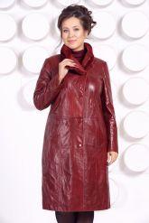 Кожаное пальто больших размеров красного цвета. Фото 3.