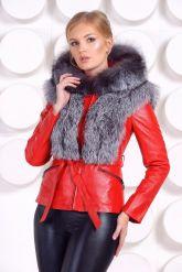 Зимняя меховая куртка трансформер красного цвета. Фото 1.