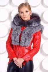 Зимняя меховая куртка трансформер красного цвета. Фото 2.