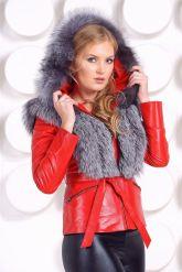 Зимняя меховая куртка трансформер красного цвета. Фото 3.