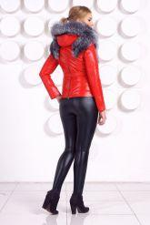 Зимняя меховая куртка трансформер красного цвета. Фото 5.