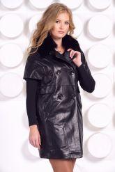 Кожаное пальто с воротником из песца. Фото 3.