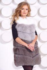 Женский трехцветный меховой жилет. Фото 2.