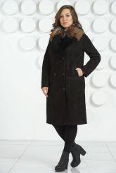 """Женская дубленка в стиле """" Оверсайз """" с накладными карманами. Фото 6."""
