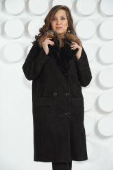 """Женская дубленка в стиле """" Оверсайз """" с накладными карманами. Фото 7."""
