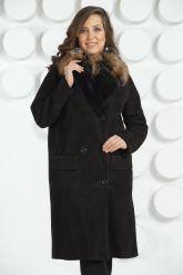 """Женская дубленка в стиле """" Оверсайз """" с накладными карманами. Фото 2."""