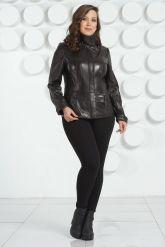 Черная кожаная куртка пиджак. Фото 1.