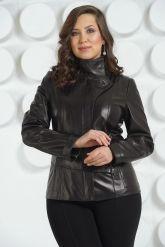 Черная кожаная куртка пиджак. Фото 3.
