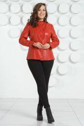 Кожаная куртка с рюшами красного цвета. Фото 6.