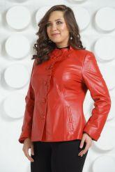Кожаная куртка с рюшами красного цвета. Фото 8.
