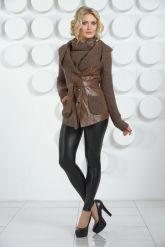 Утепленная кожаная куртка с трикотажем. Фото 1.