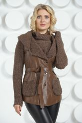 Утепленная кожаная куртка с трикотажем. Фото 2.