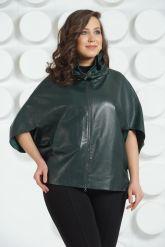 Темно-зеленая кожаная куртка для женщин. Фото 2.