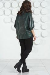 Темно-зеленая кожаная куртка для женщин. Фото 4.