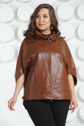 Коричневая кожаная куртка для женщин. Фото 3.