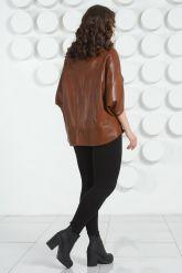 Коричневая кожаная куртка для женщин. Фото 4.