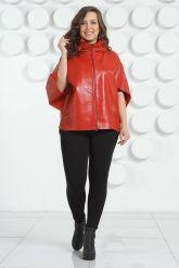 Красная кожаная куртка для женщин. Фото 1.