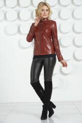 Кожаная куртка бордового цвета. Фото 1.